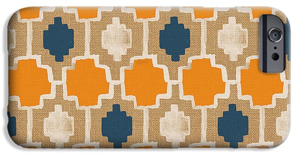 Moroccan iPhone Cases - Burlap Blue and Orange design iPhone Case by Linda Woods