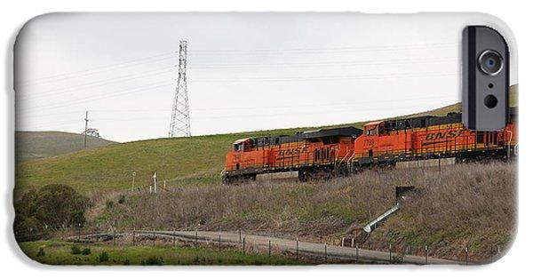 Oak Creek iPhone Cases - Burlington Northern Santa Fe BNSF Locomotives at Fernandez Ranch California - 5D21041 iPhone Case by Wingsdomain Art and Photography