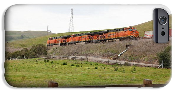 Oak Creek iPhone Cases - Burlington Northern Santa Fe BNSF Locomotives at Fernandez Ranch California - 5D21042 iPhone Case by Wingsdomain Art and Photography