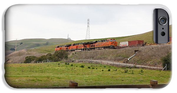 Oak Creek iPhone Cases - Burlington Northern Santa Fe BNSF Locomotives at Fernandez Ranch California - 5D21043 iPhone Case by Wingsdomain Art and Photography