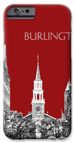 Pen And Ink iPhone Cases - Burlington Vermont Skyline - Dk Red iPhone Case by DB Artist