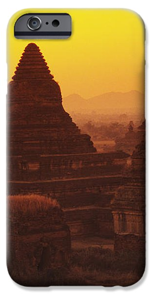 Burma Myanmar, Bagan, Temples At Sunset iPhone Case by Richard Maschmeyer