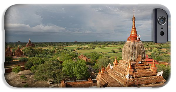 Simple Beauty In Colors iPhone Cases - Burma Myanmar, Buddhist Pagoda Bagan iPhone Case by Chris Caldicott