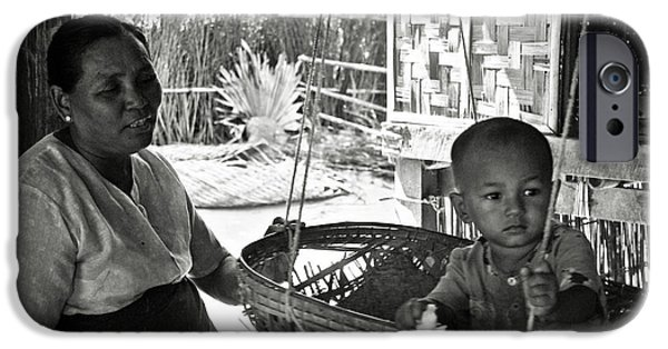 Bamboo House iPhone Cases - Burmese grandmother and grandchild iPhone Case by RicardMN Photography