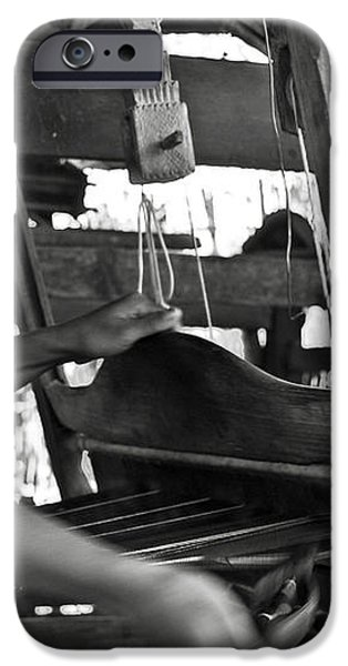 Burmese woman working with a handloom weaving. iPhone Case by RicardMN Photography