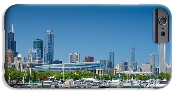 Soldier Field iPhone Cases - Burnham Harbor and the Chicago Skyline iPhone Case by Kristopher Kettner