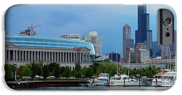 Soldier Field iPhone Cases - Burnham Harbor under the Chicago Skyline and Soldier Field iPhone Case by Wernher Krutein