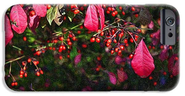 Red Leaf Digital iPhone Cases - Burning Bush iPhone Case by Lena Auxier