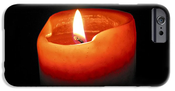 Candle Lit iPhone Cases - Burning candle iPhone Case by Elena Elisseeva