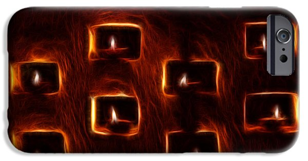 Night Lamp Mixed Media iPhone Cases - Burning candles fractal art iPhone Case by Image World