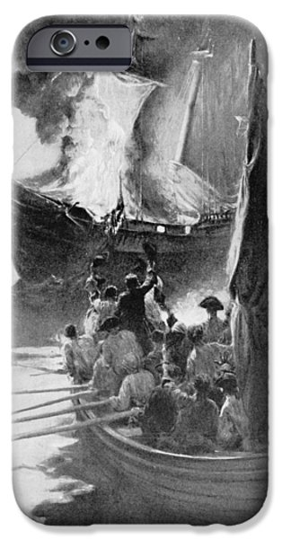Schooner iPhone Cases - Burning Of The Gaspee, Illustration From Colonies And Nation By Woodrow Wilson, Pub. In Harpers iPhone Case by Howard Pyle