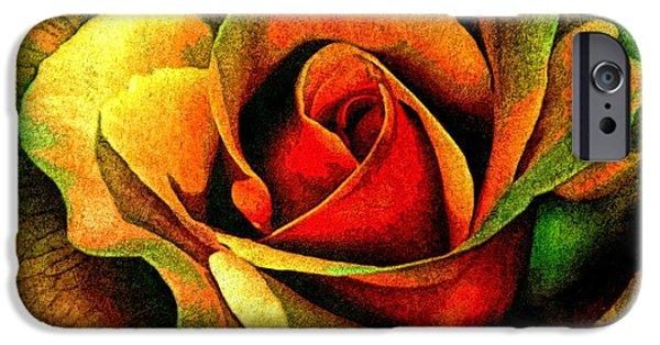 Macro Mixed Media iPhone Cases - Burning Rose Of Autumn iPhone Case by Georgiana Romanovna