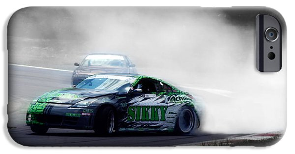 Racetrack Digital Art iPhone Cases - Burning Rubber to Ashes  iPhone Case by Steven  Digman