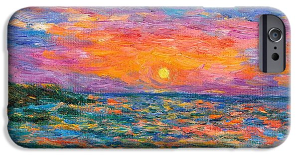 Ocean Sunset Paintings iPhone Cases - Burning Shore iPhone Case by Kendall Kessler