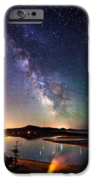 Beach Landscape iPhone Cases - Burning the Milky Way iPhone Case by Darren  White