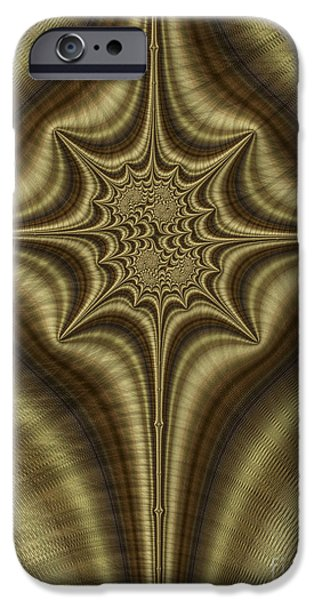 Bronze iPhone Cases - Burnished Bronze Abstract iPhone Case by John Edwards