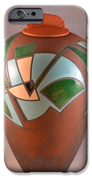 Sports Ceramics iPhone Cases - Burnt Umber Rhythms 1 iPhone Case by Chris Tennis