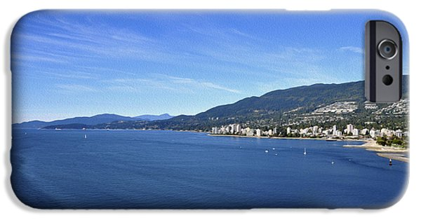 Stanley Park iPhone Cases - Burrard Inlet Vancouver iPhone Case by Aged Pixel
