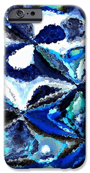 Bursts of Blue and White - Abstract Art iPhone Case by Carol Groenen