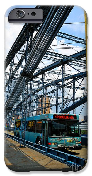 Old Bus Stations Photographs iPhone Cases - Bus crossing the Smithfield Street Bridge Pittsburgh Pennsylvania iPhone Case by Amy Cicconi