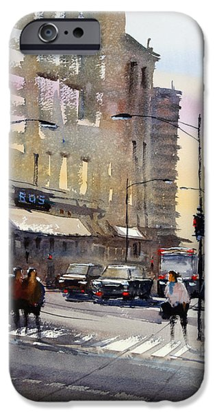Chicago Paintings iPhone Cases - Bus Stop - Chicago iPhone Case by Ryan Radke