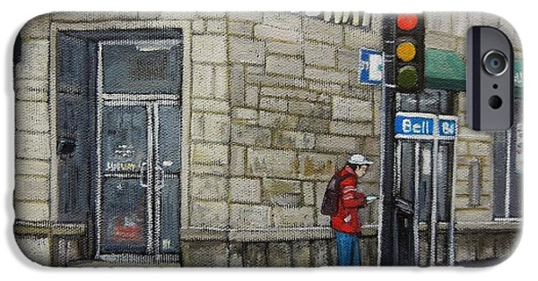 Streets Of Montreal iPhone Cases - Bus Stop on Monk iPhone Case by Reb Frost