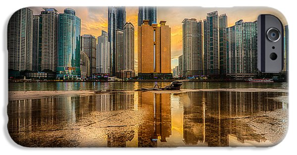 Modern Pyrography iPhone Cases - Busan skyline iPhone Case by Keith Homan