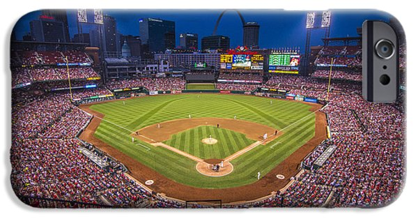 St Photographs iPhone Cases - Busch Stadium St. Louis Cardinals Night Game iPhone Case by David Haskett