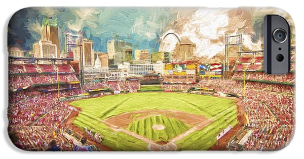 Painter Photographs iPhone Cases - Busch Stadium St. Louis Cardinals Day Paint iPhone Case by David Haskett