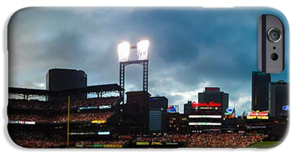 Red Sox iPhone Cases - Night Game at Busch Stadium - St. Louis Cardinals vs. Boston Red Sox iPhone Case by Gregory Ballos