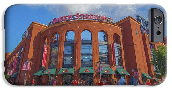 Recently Sold -  - Baseball Stadiums iPhone Cases - Busch Stadium St. Louis Cardinals Paint Blue iPhone Case by David Haskett