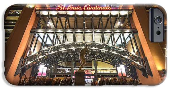 Mlb iPhone Cases - Busch Stadium St. Louis CardinalsStan Musial iPhone Case by David Haskett