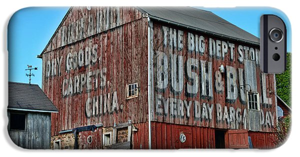 Vintage Painter iPhone Cases - Bush and Bull Roadside Barn iPhone Case by Paul Ward