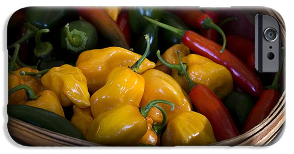 Locally Grown iPhone Cases - Bushel of Peppers iPhone Case by Julie Palencia