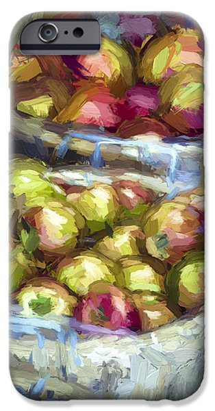 Wall Greeting Cards Digital iPhone Cases - Bushels of Apples Digital Painting iPhone Case by Julie Palencia