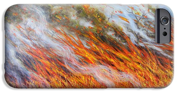 Slash iPhone Cases - Bushfire Inferno, 2014, Oil On Canvas iPhone Case by Tilly Willis