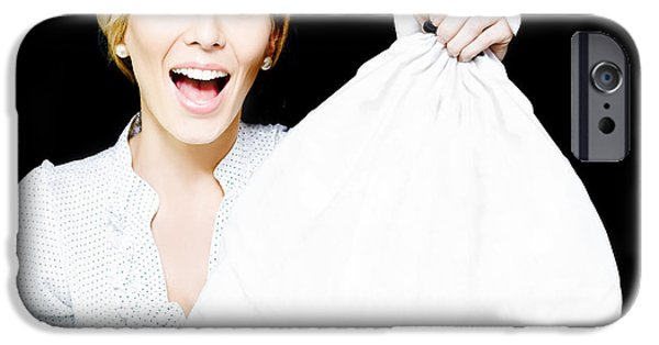 Endorsement iPhone Cases - Business Woman Bagging A Bargain With Copyspace iPhone Case by Ryan Jorgensen