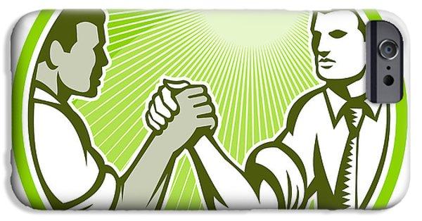Wrestle iPhone Cases - Businessman Office Worker Arm Wrestling iPhone Case by Aloysius Patrimonio
