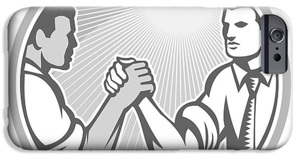 Wrestle iPhone Cases - Businessman Office Worker Arm Wrestling Grayscale iPhone Case by Aloysius Patrimonio