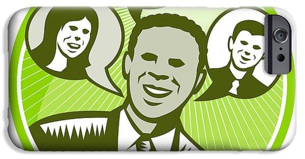 African-american Digital Art iPhone Cases - Businessman People Smiling Speech Bubble iPhone Case by Aloysius Patrimonio