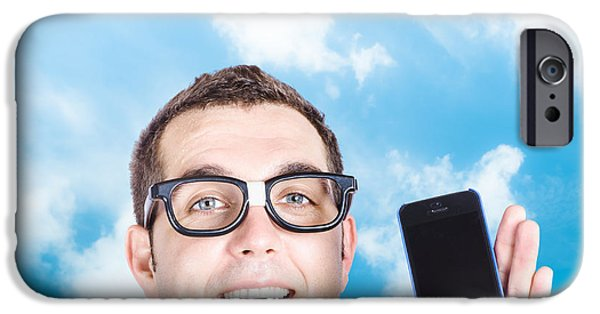 Multimedia iPhone Cases - Businessman showing blank smartphone iPhone Case by Ryan Jorgensen