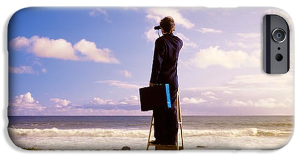 Well Dressed iPhone Cases - Businessman Standing On A Ladder And iPhone Case by Panoramic Images