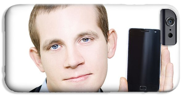 Multimedia iPhone Cases - Businessman With Blank Screen Smartphone In Hand iPhone Case by Ryan Jorgensen