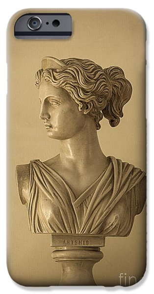 Greek Goddesses iPhone Cases - Bust of Artemis iPhone Case by Diane Diederich
