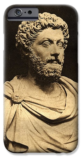Statue Portrait Photographs iPhone Cases - Bust Of Marcus Aurelius 121-80 Ad Marble iPhone Case by English Photographer