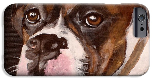 Dog Close-up Paintings iPhone Cases - Buster iPhone Case by Carol Russell