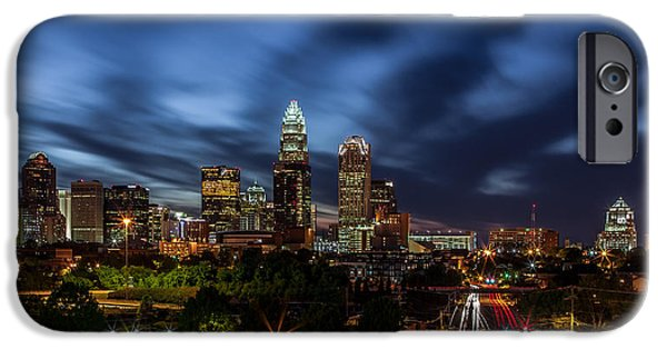 Charlotte iPhone Cases - Busy Charlotte Night iPhone Case by Chris Austin