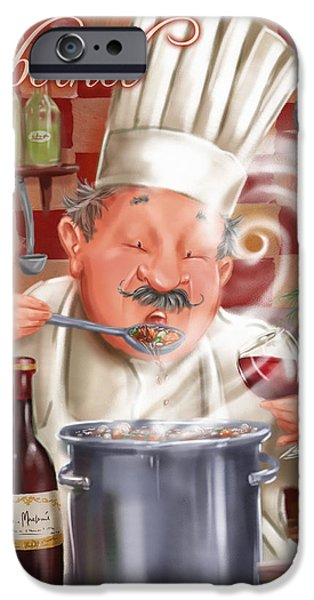 Waiter Mixed Media iPhone Cases - Busy Chef with Cabernet iPhone Case by Shari Warren