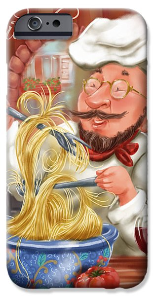 Chef iPhone Cases - Busy Chef with Chianti iPhone Case by Shari Warren