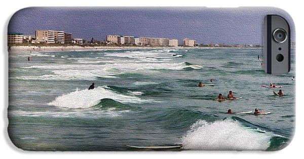 Board iPhone Cases - Busy Day In The Surf iPhone Case by Deborah Benoit